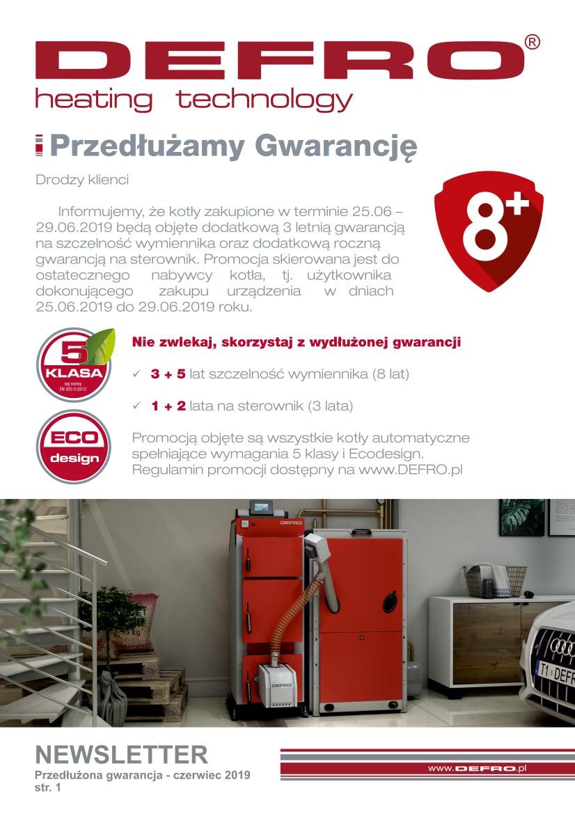 Gwarancja +3 lata na kotły DEFRO zakupione do końca Czerwca