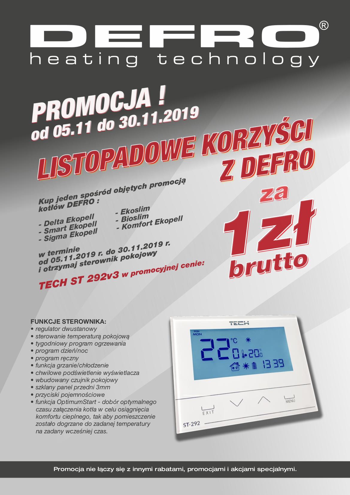 """DEFRO - Promocja """"Listopadowe korzyści z DEFRO"""""""
